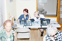 Zoila Oliva, 76, (front right), Gina Gomez, 76, (front left), Blanca Vrotsos, 62, (rear right), and Inez Yimoc, 55, volunteer in the phone bank at the Donald Trump campaign office in Hialeah, Miami, Florida, on Sun., Oct. 9, 2016.