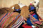 Cusco, Peru. Two women in colourful traditional costume and felt hats with llamas.
