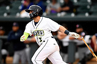 Michael Paez (3) of the Columbia Fireflies on the South team bats at the South Atlantic League All-Star Game on Tuesday, June 20, 2017, at Spirit Communications Park in Columbia, South Carolina. The game was suspended due to rain after seven innings tied, 3-3. (Tom Priddy/Four Seam Images)