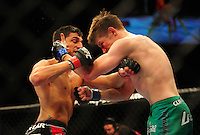 Oct. 29, 2011; Las Vegas, NV, USA; UFC fighter Ramsey Dijem (left) against Danny Downes during a lightweight bout during UFC 137 at the Mandalay Bay event center. Mandatory Credit: Mark J. Rebilas-