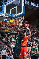 VALENCIA, SPAIN - OCTOBER 18: Paul, Hamilton and Nogues during ENDESA LEAGUE match between Valencia Basket Club and FIATC Joventut at Fonteta Stadium on October 18, 2015 in Valencia, Spain