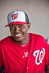 10 March 2014: Washington Nationals outfielder Michael Taylor smiles in the dugout during a Spring Training game against the Houston Astros at Space Coast Stadium in Viera, Florida. The Astros defeated the Nationals 7-4 in Grapefruit League play. Mandatory Credit: Ed Wolfstein Photo *** RAW (NEF) Image File Available ***
