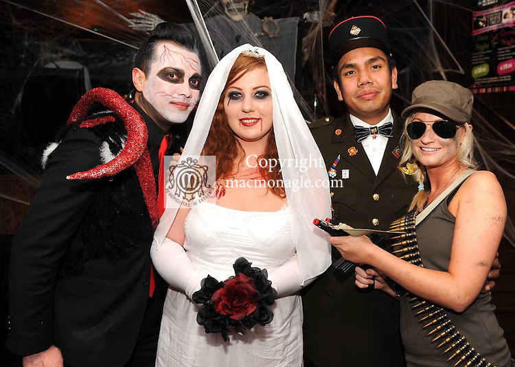 At  the 'Lane of Scares'  annual Halloween Bash at The Ross Lane Bar and Courtneys Bar, Killarney on Friday night were from left, Rico, Lorraine Carey, Midi and Amanda Downing, Killarney. Picture: Eamonn Keogh (MacMonagle, Killarney)