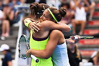 Sara Errani (ITA) and Bibiane Schoofs (NL) after winning the double match during the ASB Classic WTA Women's Tournament Day 7 Doubles Final. ASB Tennis Centre, Auckland, New Zealand. Sunday 7 January 2018. ©Copyright Photo: Chris Symes / www.photosport.nz