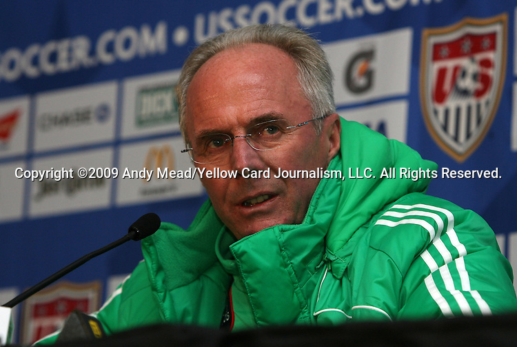 10 February 2009: Mexico Men's National Team head coach Sven-Goran Eriksson (SWE) held a press conference at Columbus Crew Stadium in Columbus, Ohio in advance of Mexico's FIFA 2010 World Cup Qualifier against the United States.