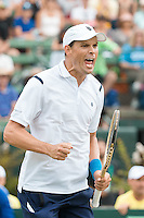 March 5, 2016: Bob Bryan of USA celebrates winning the doubles match against Lleyton Hewitt and John Peers of Australia during the BNP Paribas Davis Cup World Group first round tie between Australia and USA at Kooyong tennis club in Melbourne, Australia. Photo Sydney Low