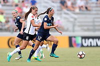 Cary, North Carolina  - Saturday July 01, 2017: Ashley Hatch and Erica Skroski during a regular season National Women's Soccer League (NWSL) match between the North Carolina Courage and the Sky Blue FC at Sahlen's Stadium at WakeMed Soccer Park. Sky Blue FC won the game 1-0.