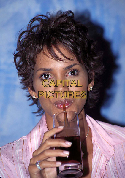 HALLE BERRY.Ref: ND.pink shirt, drinking, headshot, portrait.www.capitalpictures.com.sales@capitalpictures.com.© Capital Pictures
