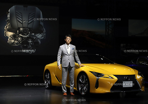 "March 16, 2017, Tokyo, Japan - Toyota Motor's luxury car brand Lexus International chief engineer Koji Sato displays the company's flagship coupe ""Lexus LC"" with price from 13 million yen (115,000 US dollars) in Tokyo on Thursday, March 16, 2017. The Lexus LC has V8 5.0-litter or V6 3.5-litter hybrid engine to drive rear wheels.    (Photo by Yoshio Tsunoda/AFLO) LwX -ytd-"