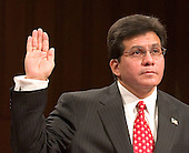 Judge Alberto R. Gonzales, Attorney General-designate is sworn-in to testify at his confirmation hearing before the United States Senate Judiciary Committee in Washington, D.C. on January 6, 2005.  Gonzales has been nominated by United States President George W. Bush to replace John Ashcroft as head of the United States Department of Justice.<br /> Credit: Ron Sachs / CNP