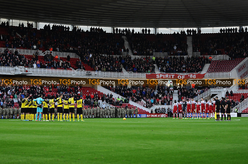 A minutes silence takes place prior to kick off  - Middlesbrough vs Watford - Sky Bet Championship Football at the Riverside Stadium, Middlesbrough - 09/11/13 - MANDATORY CREDIT: Steven White/TGSPHOTO - Self billing applies where appropriate - 0845 094 6026 - contact@tgsphoto.co.uk - NO UNPAID USE