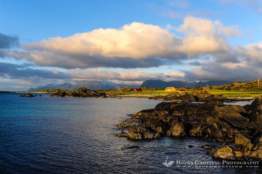 Norway, Lofoten. Coastal landscape at Hov, at the northern part of Gimsøy. Sunset.