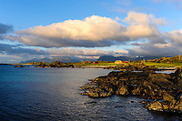 Norway, Lofoten. Coastal landscape at Hov, at the northern part of Gimsøy. Sunset.