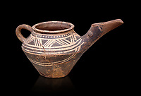 """Early Minoan clay decorated """"teapot"""" with elongated spout,  Michlos Cemetery 2600-1900 BC BC, Heraklion Archaeological  Museum, black background."""