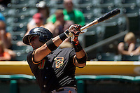Guillermo Quiroz (41) of the Fresno Grizzlies at bat against the Salt Lake Bees at Smith's Ballpark on May 26, 2014 in Salt Lake City, Utah.  (Stephen Smith/Four Seam Images)