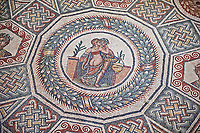 Roman Mosaic from the Cubilcle with Erotic Scene, room 24, at the Villa Romana del Casale,  first quarter of the 4th century AD. Sicily, Italy. A UNESCO World Heritage Site.