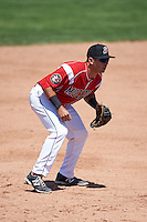 Batavia Muckdogs third baseman Alexander Fernandez (46) during a game against the Williamsport Crosscutters on July 16, 2015 at Dwyer Stadium in Batavia, New York.  Batavia defeated Williamsport 4-2.  (Mike Janes/Four Seam Images)