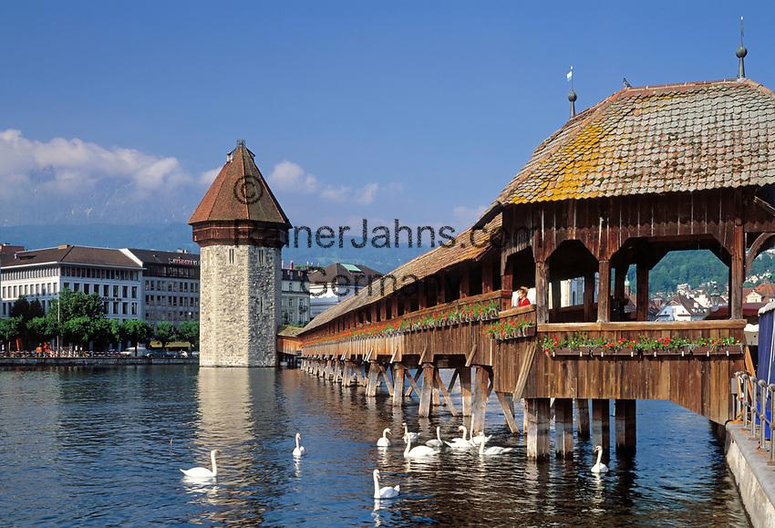 Schweiz, Kanton Luzern, Luzern an der Reuss: Kapellbruecke mit Wasserturm   Switzerland, Canton Lucerne, City Lucerne at river Reuss: Chapel Bridge with Water Tower