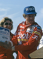 Bill Elliott busch pole award Pepsi Firecracker 400 at Daytona International Speedway in Daytona Beach, FL on July 4, 1985. (Photo by Brian Cleary/www.bcpix.com)