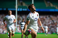 Johnny Williams of the England XV celebrates his second half try. Quilter Cup International match between England XV and the Barbarians on June 2, 2019 at Twickenham Stadium in London, England. Photo by: Patrick Khachfe / Onside Images