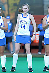 16 October 2015: Duke's Robin Blazing. The University of North Carolina Tar Heels hosted the Duke University Blue Devils at Francis E. Henry Stadium in Chapel Hill, North Carolina in a 2015 NCAA Division I Field Hockey match. UNC won the game 2-1.