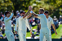England celebrates the wicket of Tom Latham of the Black Caps during Day 2 of the Second International Cricket Test match, New Zealand V England, Hagley Oval, Christchurch, New Zealand, 31th March 2018.Copyright photo: John Davidson / www.photosport.nz