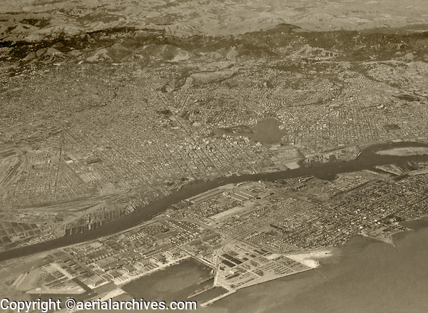 historical aerial photograph of Alameda and Oakland, California, 1938