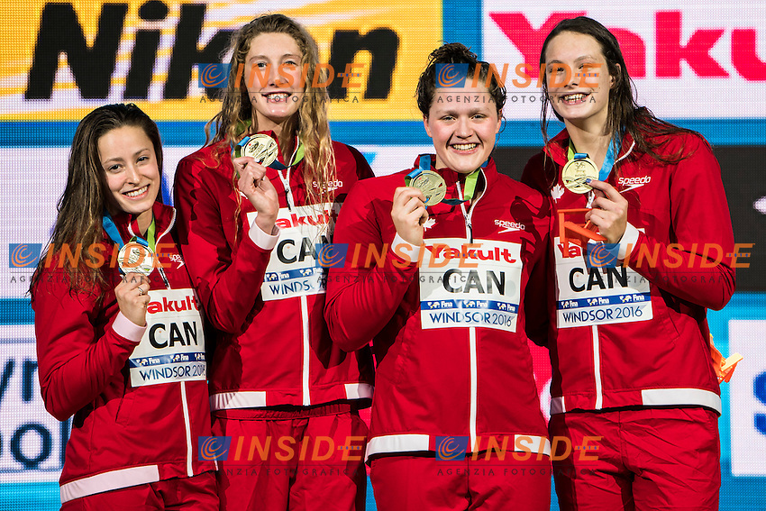 Canada CAN Gold Medal <br /> SAVARD Katerine RUCK Taylor GOSS Kennedy <br /> OLEKSIAK Penny<br /> Women's 4x200m Freestyle<br /> 13th Fina World Swimming Championships 25m <br /> Windsor  Dec. 10th, 2016 - Day05 Final<br /> WFCU Centre - Windsor Ontario Canada CAN <br /> 20161210 WFCU Centre - Windsor Ontario Canada CAN <br /> Photo &copy; Giorgio Scala/Deepbluemedia/Insidefoto
