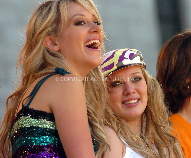 Hilary Duff and her sister performing on 'Good Morning America.' New York, July 16, 2004. Please byline: AJ SOKALNER -- ACEPIXS.COM   .. *** ***..Ace Pictures, Inc:  ..Contact: Alecsey Boldeskul (646) 267-6913 ..Philip Vaughan (646) 769-0430..e-mail: info@acepixs.com