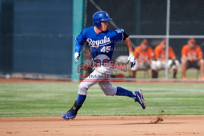 Kansas City Royals minor league outfielder Fred Ford #45 during an instructional league game against the San Francisco Giants at the Giants Baseball Complex on October 18, 2012 in Scottsdale, Arizona. (Mike Janes/Four Seam Images)