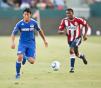 CARSON, CA – SEPTEMBER 19: KC Wizard defender Roger Espinoza (17) during a soccer match at Home Depot Center, September 19, 2010 in Carson California. Final score Chivas USA 0, Kansas City Wizards 2.