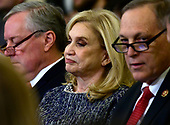 United States Representative Carolyn Maloney (Democrat of New York), who was elected Chairwoman of the US House Committee on Oversight and Reform yesterday, listens as Dr. Fiona Hill, former Senior Director for Europe and Russia, National Security Council (NSC), and David A. Holmes, Political Counselor, US Embassy in Kyiv, Ukraine, on behalf of US Department of State, testify during the US House Permanent Select Committee on Intelligence public hearing as they investigate the impeachment of US President Donald J. Trump on Capitol Hill in Washington, DC on Thursday, November 21, 2019.<br /> Credit: Ron Sachs / CNP<br /> (RESTRICTION: NO New York or New Jersey Newspapers or newspapers within a 75 mile radius of New York City)