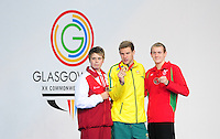 The podium for the men's para-sport 200m freestyle S14 final, from left, silver medalist England's Hamer Thomas, gold medalist Australia's Daniel Fox and bronze medalist Wales' Jack Thomas<br /> <br /> Photographer Chris Vaughan/CameraSport<br /> <br /> 20th Commonwealth Games - Day 3 - Saturday 26th July 2014 - Swimming - Tollcross International Swimming Centre - Glasgow - UK<br /> <br /> © CameraSport - 43 Linden Ave. Countesthorpe. Leicester. England. LE8 5PG - Tel: +44 (0) 116 277 4147 - admin@camerasport.com - www.camerasport.com