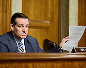"""United States Senator Ted Cruz (Republican of Texas), a candidate for the Republican nomination to be President of the United States, questions the witnesses during the US Senate Committee on Armed Services hearing concerning """"Impacts of the Joint Comprehensive Plan of Action (JCPOA) on U.S. Interests and the Military Balance in the Middle East"""" on Capitol Hill on Wednesday, July 29, 2015.<br /> Credit: Ron Sachs / CNP"""