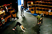 Actors warming up, dress rehearsal for Shakespeare's Macbeth, Rose Bruford College, Sidcup, Kent.