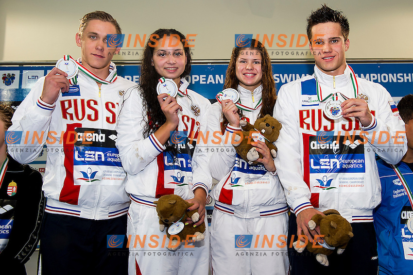 Russian Federation RUS<br /> 4X100 Freestyle Mixed Final Gold Medal<br /> LEN 43rd Arena European Junior Swimming Championships<br /> Hodmezovasarhely, Hungary <br /> Day02 07-07-2016<br /> Photo Andrea Masini/Deepbluemedia/Insidefoto