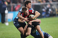 11th July 2020; Christchurch, New Zealand;  Jack Goodhue is bought down by the pack. Crusaders versus Blues in the Super Rugby Aotearoa. Orangetheory Stadium, Christchurch,