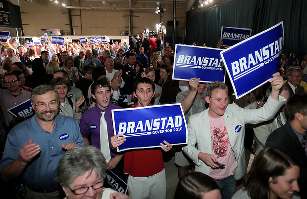 Terry Branstad supporters cheer as Branstad is announced as victor in the Republican primary election Tuesday night, June 8, 2010, at the 7 Flags Event Center in Clive.