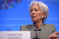 Washington, DC - April 16, 2015: Christine Lagarde, Managing Director of the International Monetary Fund, holds a press availability April 16, 2015 at the International Monetary Fund Headquarters in the District of Columbia during the annual Spring Meeting of the World Bank Group/IMF.   (Photo by Don Baxter/Media Images International)