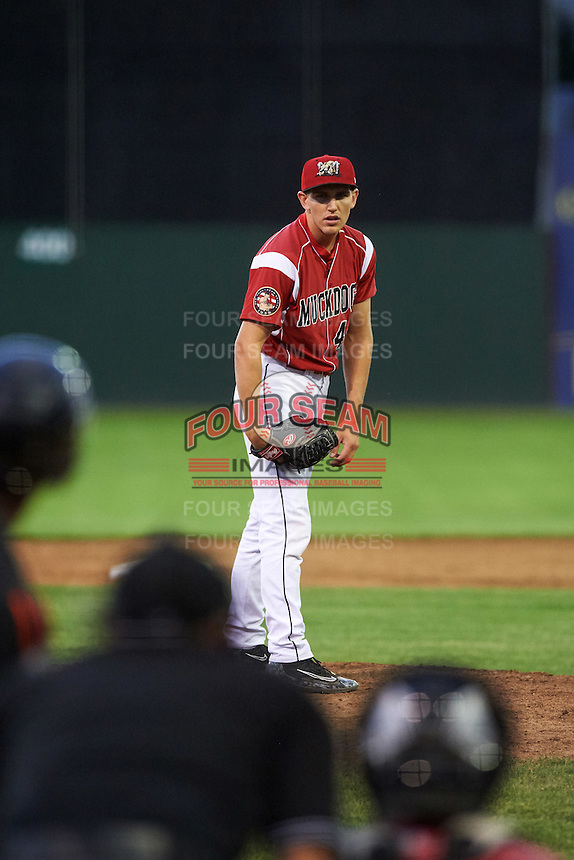 Batavia Muckdogs relief pitcher Dylan Lee (46) during a game against the Aberdeen Ironbirds on July 16, 2016 at Dwyer Stadium in Batavia, New York.  Aberdeen defeated Batavia 9-0. (Mike Janes/Four Seam Images)