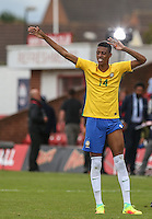 Robson of Brazil celebrates the win during the International match between England U20 and Brazil U20 at the Aggborough Stadium, Kidderminster, England on 4 September 2016. Photo by Andy Rowland / PRiME Media Images.