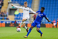 Sam Winnall of Derby County and Bruno Manga of Cardiff City during the Sky Bet Championship match between Cardiff City and Derby County at Cardiff City Stadium, Cardiff, Wales on 30 September 2017. Photo by Mark  Hawkins / PRiME Media Images.