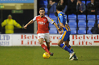 Fleetwood Town's Lewie Coyle under pressure from Shrewsbury Town's Josh Laurent<br /> <br /> Photographer Kevin Barnes/CameraSport<br /> <br /> The EFL Sky Bet League One - Shrewsbury Town v Fleetwood Town - Tuesday 1st January 2019 - New Meadow - Shrewsbury<br /> <br /> World Copyright © 2019 CameraSport. All rights reserved. 43 Linden Ave. Countesthorpe. Leicester. England. LE8 5PG - Tel: +44 (0) 116 277 4147 - admin@camerasport.com - www.camerasport.com