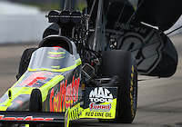 May 21, 2016; Topeka, KS, USA; NHRA top fuel driver J.R. Todd during qualifying for the Kansas Nationals at Heartland Park Topeka. Mandatory Credit: Mark J. Rebilas-USA TODAY Sports