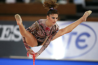 September 21, 2007; Patras, Greece;  Eleni Andriola of Greece straddle jumps with rope during the All-Around final at 2007 World Championships Patras.  Eleni placed 12th in the AA to qualify Greece for one position in the individual All-Around competition at Beijing 2008 Olympics Games and the possibility of making her 2nd Olympic Games.  Photo by Tom Theobald. .