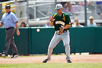 Baylor Bears third baseman Cal Towey #18 prepares to catch a ground ball during the NCAA Regional baseball game against Oral Roberts University on June 3, 2012 at Baylor Ball Park in Waco, Texas. Baylor defeated Oral Roberts 5-2. (Andrew Woolley/Four Seam Images)
