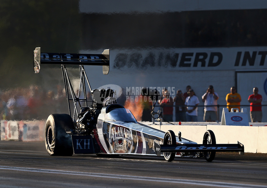 Aug. 16, 2013; Brainerd, MN, USA: NHRA top fuel dragster driver Shawn Langdon during qualifying for the Lucas Oil Nationals at Brainerd International Raceway. Mandatory Credit: Mark J. Rebilas-