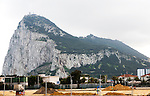 Border between Spain and Gibraltar, British overseas territory in southern Europe