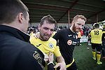 Visiting midfielder Ian McFarland in tears after East Stirlingshire took on Edinburgh City in the second leg of the Scottish League pyramid play-off at Ochilview Park, Stenhousemuir. The play-offs were introduced in 2015 with the winners of the Highland and Lowland Leagues playing-off for the chance to play the club which finished bottom of Scottish League 2. Edinburgh City won the match 1-0 giving them a 2-1 aggregate victory making them the first club in Scottish League history to be promoted into the league.
