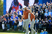 Ian Poulter (Team Europe) Jon Rahm (Team Europe) during the Saturday Fourballs at the Ryder Cup, Le Golf National, Paris, France. 29/09/2018.<br /> Picture Phil Inglis / Golffile.ie<br /> <br /> All photo usage must carry mandatory copyright credit (© Golffile | Phil Inglis)